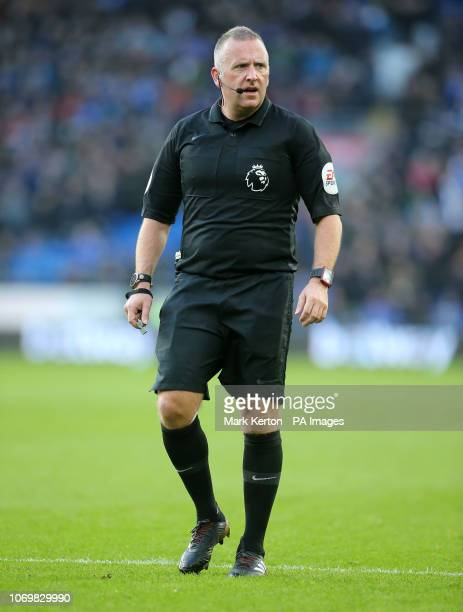 Referee Jonathan Moss during the Premier League match at the Cardiff City Stadium Cardiff