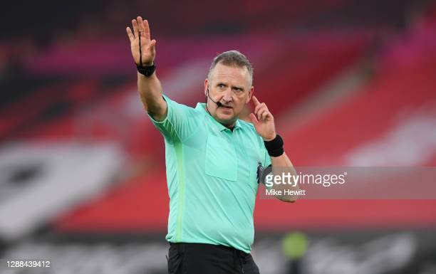 Referee Jonathan Moss during the Premier League match between Southampton and Manchester United at St Mary's Stadium on November 29 2020 in...