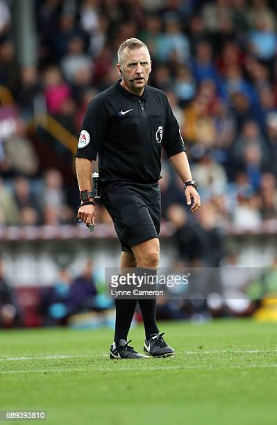 Referee Jonathan Moss during the Premier League match between Burnley and Cardiff City at Turf Moor on August 13 2016 in Burnley England