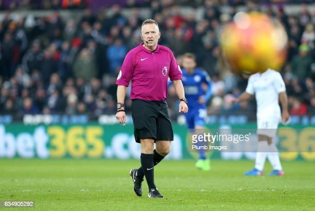Referee Jonathan Moss during the Premier League match between Swansea City and Leicester City at Liberty Stadium on February 12 2017 in Swansea Wales