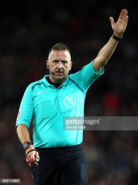 Referee Jonathan Moss during the Premier League match between Manchester United and West Ham United at Old Trafford on November 27 2016 in Manchester...