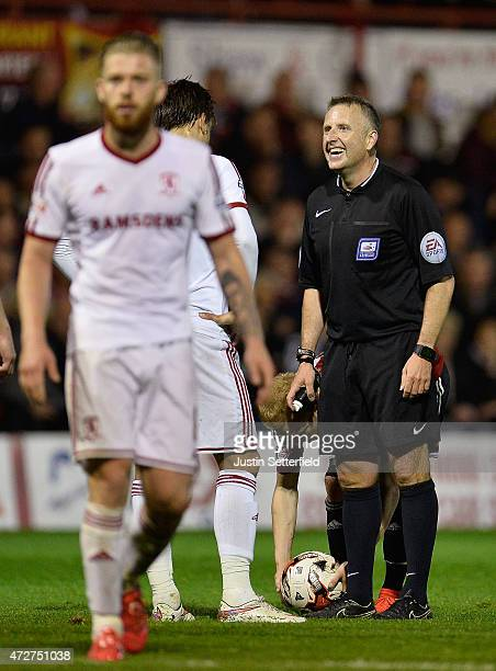 Referee Jonathan Moss during the Sky Bet Championship Playoff SemiFinal at Griffin Park between Brentford and Middlesbrough on May 8 2015 in...