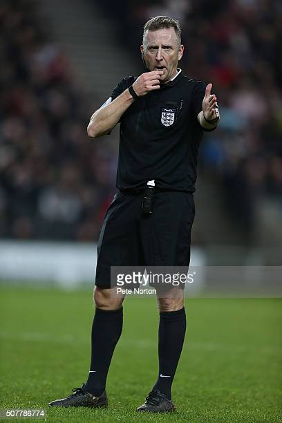 Referee Jonathan Moss in action during The Emirates FA Cup Fourth Round match between Milton Keynes Dons and Chelsea at Stadium mk on January 31 2016...