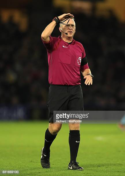 Referee Jonathan Moss in action during the Premier League match between Watford and Middlesbrough at Vicarage Road on January 14 2017 in Watford...