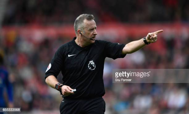Referee Jonathan Moss in action during the Premier League match between Middlesbrough and Manchester United at Riverside Stadium on March 19 2017 in...