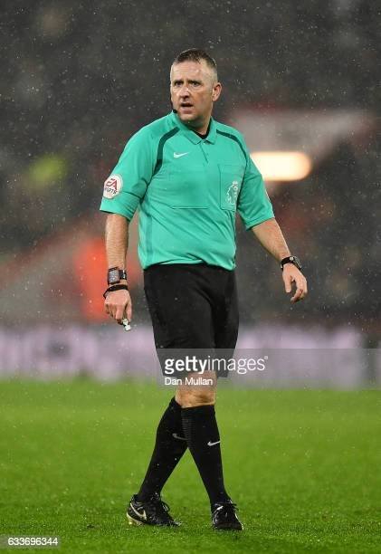 Referee Jonathan Moss looks on during the Premier League match between AFC Bournemouth and Crystal Palace at Vitality Stadium on January 31 2017 in...