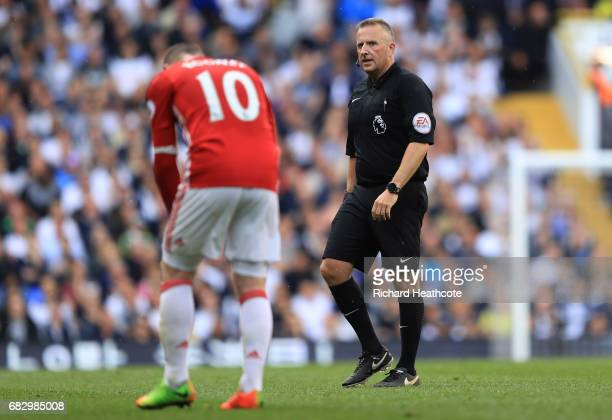 Referee Jonathan Moss looks on during the Premier League match between Tottenham Hotspur and Manchester United at White Hart Lane on May 14 2017 in...