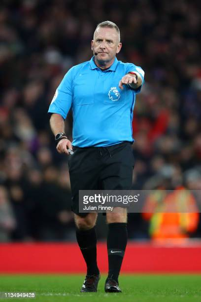 Referee Jonathan Moss looks on during the Premier League match between Arsenal FC and Manchester United at Emirates Stadium on March 10 2019 in...