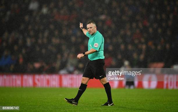Referee Jonathan Moss signals during the Premier League match between AFC Bournemouth and Crystal Palace at Vitality Stadium on January 31 2017 in...