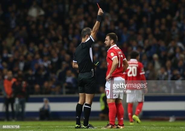 Referee Jorge Sousa shows red card to SL Benfica forward Andrija Zivkovic from Serbia during the Primeira Liga match between FC Porto and SL Benfica...