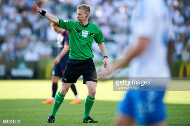Referee Jorgen Daugbjerg Burchardt in action during the Danish Alka Superliga match between OB Odense and AGF Arhus at EWII Park on May 13 2018 in...