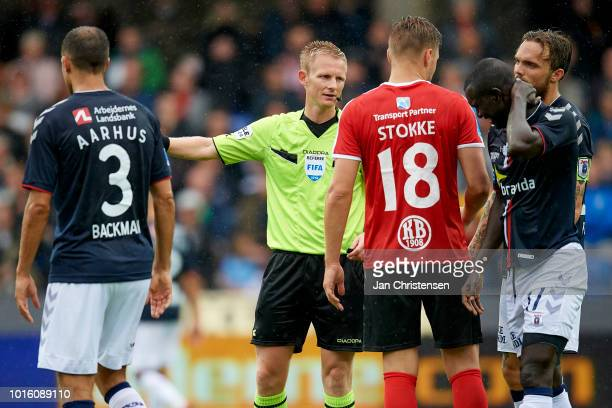 Referee Jorgen Daugbjerg Burchardt in action during the Danish Superliga match between Randers FC and AGF Arhus at BioNutria Park Randers on August...