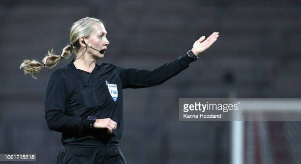 Referee Josefin Aronsson reacts during the Germany Women v Spain Women International Friendly at Arena Erfurt on November 13 2018 in Erfurt Germany