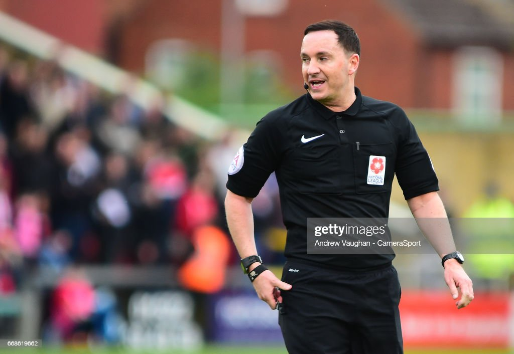 Referee Joseph Johnson during the Vanarama National League match between Lincoln City and Torquay United at Sincil Bank Stadium on April 14, 2017 in Lincoln, England.
