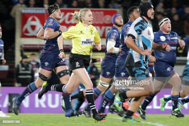 Referee Joy Neville looks on during the European Challenge Cup match between Union Bordeaux Begles and EnseiSTM at stade Chaban Delmas on December 15...