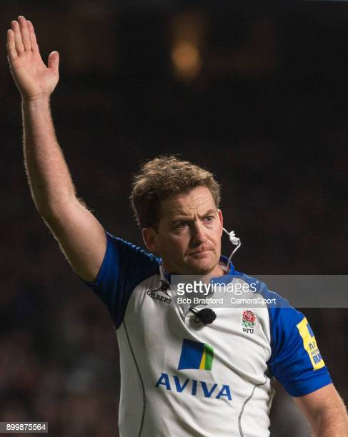 Referee JP Doyle during the Aviva Premiership Big Game 10 match between Harlequins and Northampton Saints at Twickenham Stadium on December 30 2017...