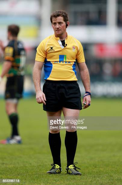 Referee JP Doyle during the Aviva Premiership match at Franklins Gardens Northampton