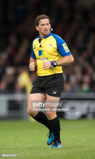 EXETER ENGLAND DECEMBER Referee JP Doyle during the Aviva Premiership match between Exeter Chiefs and Bath Rugby at Sandy Park on December 2 2017 in...