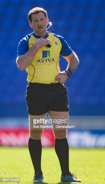 Referee JP Doyle during the Aviva Premiership match between London Irish and Worcester Warriors at Madejski Stadium on February 25 2018 in Reading...