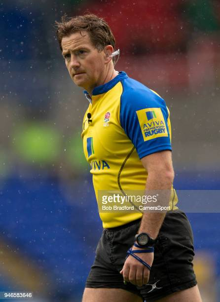 Referee JP Doyle during the Aviva Premiership match between London Irish and Exeter Chiefs at Madejski Stadium on April 15 2018 in Reading England