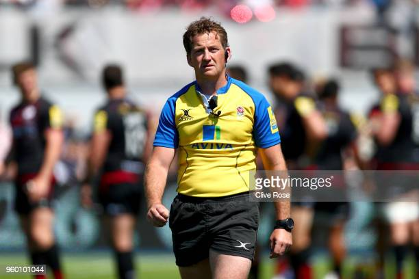 Referee JP Doyle during the Aviva Premiership Semi Final between Saracens and Wasps at Allianz Park on May 19 2018 in Barnet England
