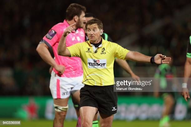 Referee JP Doyle during the Challenge Cup match between Section Paloise and Stade Francais on March 30 2018 in Pau France
