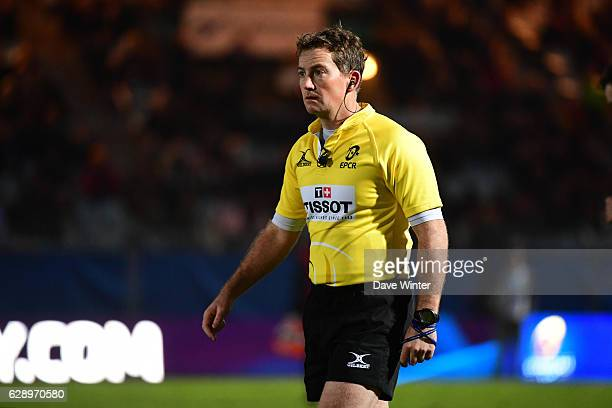Referee JP Doyle during the European Champions Cup match between Racing 92 and Glasgow Warriors at Stade Yves Du Manoir on December 10 2016 in Paris...