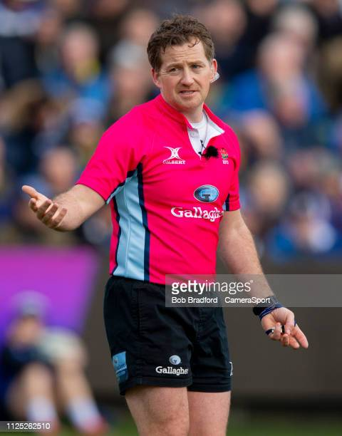 Referee JP Doyle during the Gallagher Premiership Rugby match between Bath Rugby and Newcastle Falcons at Recreation Ground on February 16 2019 in...