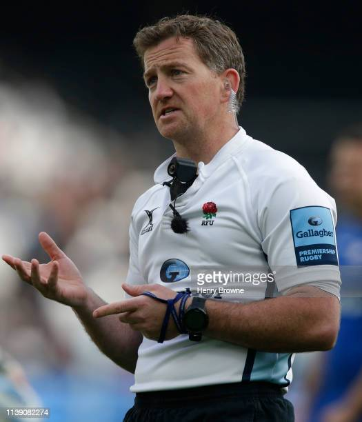 Referee JP Doyle during the Gallagher Premiership Rugby match between Saracens and Harlequins at London Stadium on March 23 2019 in London United...