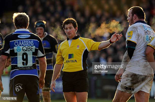 Referee JP Doyle gestures during the AVIVA Premiership match between Bath and Leeds Carnegie at Recreation Ground on January 8 2011 in Bath England
