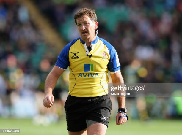 Referee JP Doyle looks on during the Aviva Premiership match between Northampton Saints and Leicester Tigers at Franklin's Gardens on September 9...