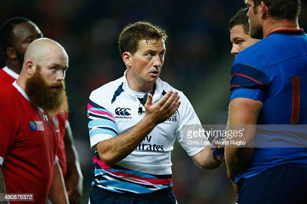 Referee JP Doyle of Ireland officiates during the 2015 Rugby World Cup Pool D match between France and Canada at Stadium mk on October 1 2015 in...