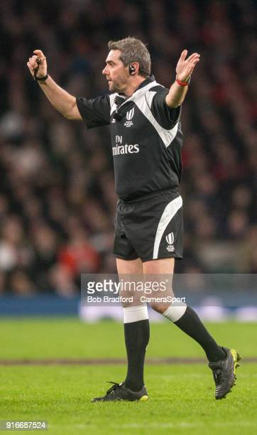 Referee Jérôme Garcès during the NatWest Six Nations Championship match between England and Wales at Twickenham Stadium on February 10 2018 in London...