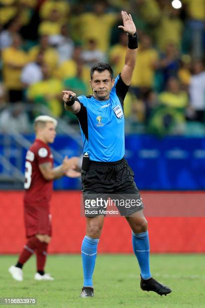 Referee Julio Bascuñan calls a non goal of Brazil after a review with VAR during the Copa America Brazil 2019 group A match between Brazil and...