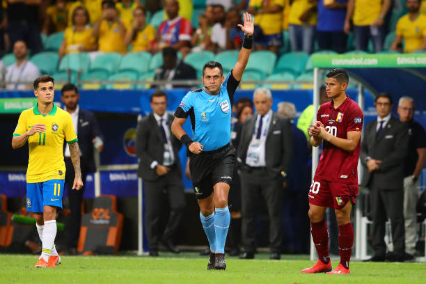 Referee Julio Gonzalez signals no goal after a VAR check during the Copa America Brazil 2019 group A match between Brazil and Venezuela at Arena...