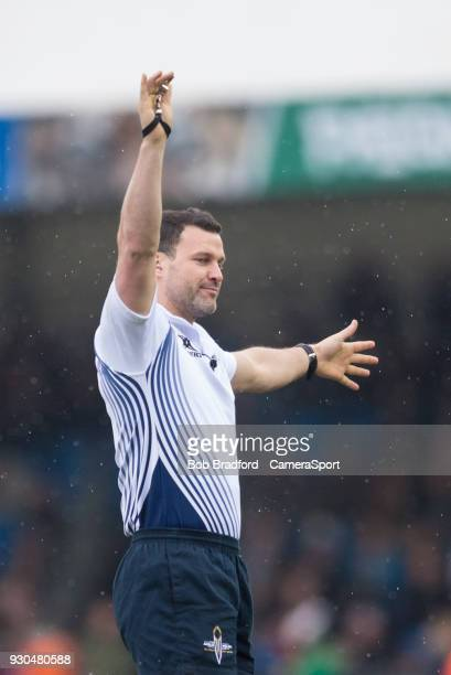 Referee Karl Dickson during the Anglo Welsh Cup Semi Final match between Exeter Chiefs and Newcastle Falcons at Sandy Park on March 11 2018 in Exeter...