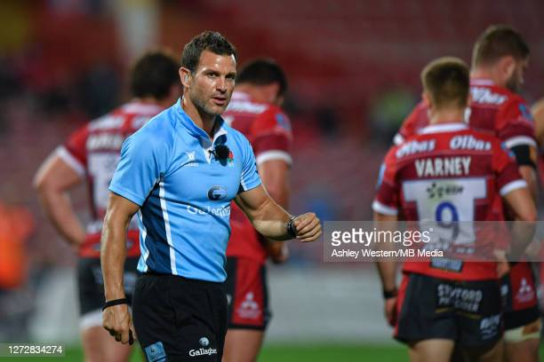 Referee Karl Dickson looks on during the Gallagher Premiership Rugby match between Gloucester Rugby and Harlequins at Kingsholm Stadium on September...