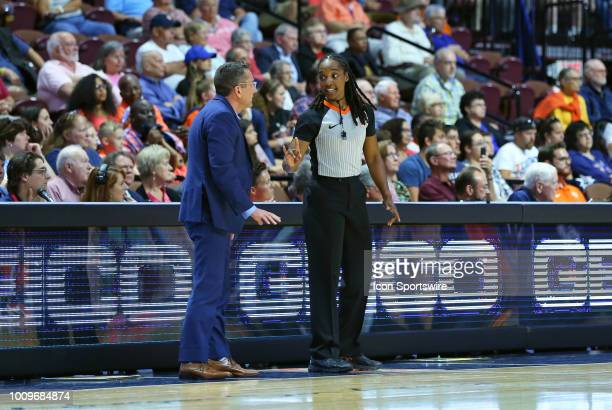 Referee Karleena Tobin speaks with Connecticut Sun head coach Curt Miller during a WNBA game between New York Liberty and Connecticut Sun on August 1...