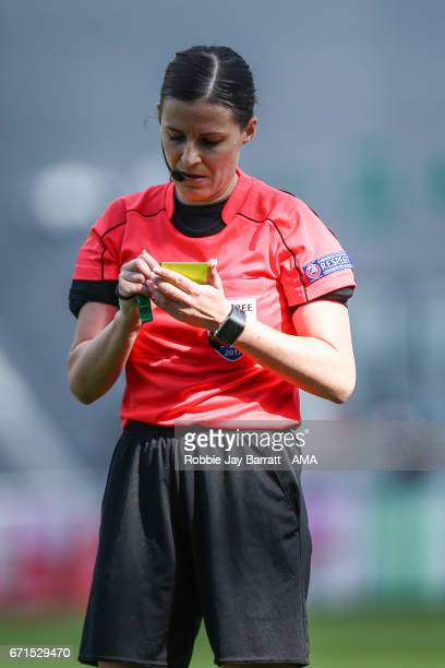 Referee Katalin Kulcsar during the UEFA Women's Champions League semi final first leg match between Manchester City Ladies and Lyon on April 22 2017...