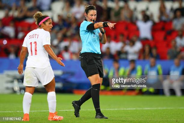 Referee Kate Jacewicz awards a penalty to Sweden during the 2019 FIFA Women's World Cup France Round Of 16 match between Sweden and Canada at Parc...