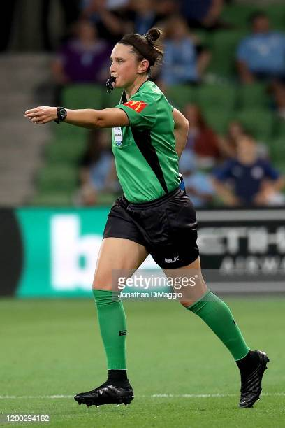 Referee Kate Jacewicz awards Melbourne City with a Penalty during the round 15 ALeague match between Melbourne City and the Newcastle Jets at AAMI...
