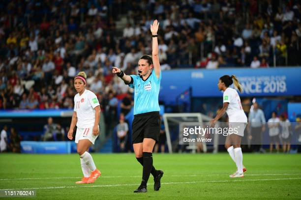 Referee Kate Jacewicz during the 2019 FIFA Women's World Cup Round of 16 match between Sweden and Canada at Parc des Princes on June 24, 2019 in...