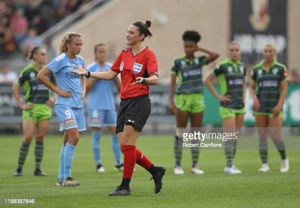 Referee Kate Jacewicz gestures during the round nine W-League match between Melbourne City and Canberra United at ABD Stadium on January 09, 2020 in...