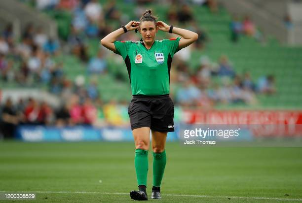 Referee Kate Jacewicz looks on during the round 15 ALeague match between Melbourne City and the Newcastle Jets at AAMI Park on January 18 2020 in...