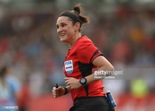 Referee Kate Jacewicz looks on during the round nine W-League match between Melbourne City and Canberra United at ABD Stadium on January 09, 2020 in...