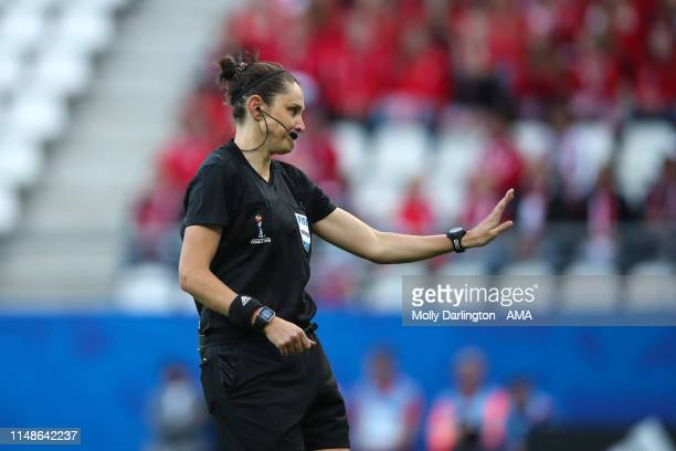 Referee Kate Jacewicz of Australia during the 2019 FIFA Women's World Cup France group A match between Norway and Nigeria at Stade Auguste Delaune on...