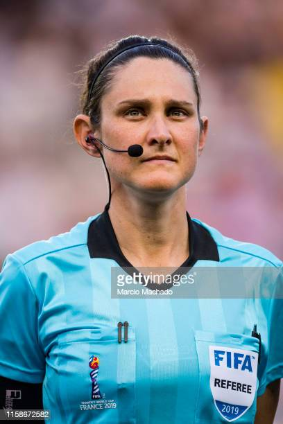 Referee Kate Jacewicz of Australia during the 2019 FIFA Women's World Cup France Round Of 16 match between Sweden and Canada at Parc des Princes on...