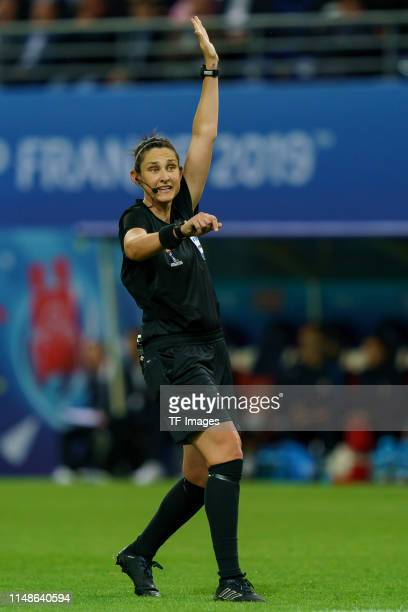 Referee Kate Jacewicz of Australia gestures during the 2019 FIFA Women's World Cup France group A match between Norway and Nigeria at Stade Auguste...