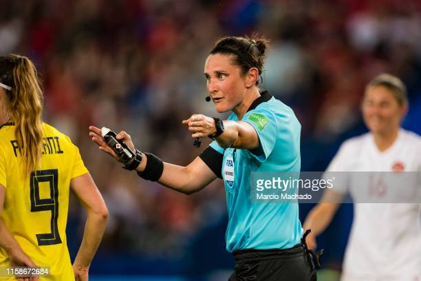 Referee Kate Jacewicz of Australia gestures during the 2019 FIFA Women's World Cup France Round Of 16 match between Sweden and Canada at Parc des...