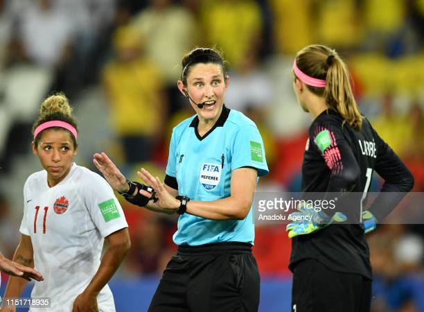 Referee Kate Jacewicz of Australia reacts during FIFA Women's World Cup round of 16 soccer match between Sweden and Canada at Parc des Princes...
